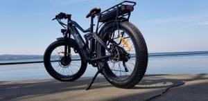 photo of a black E-Cells electric bike on a concrete walk by a shore